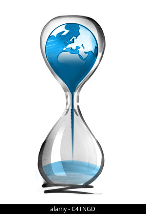 Planet earth falling through hourglass - Stock Photo