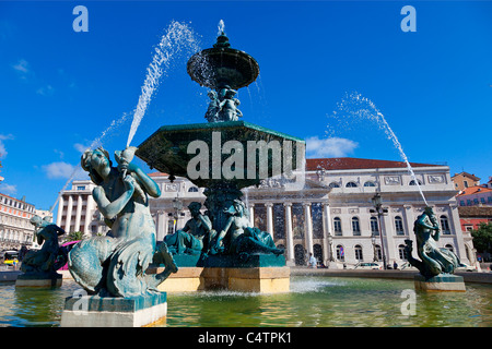 Europe, Portugal, Lisbon, Rossio Square - Stock Photo