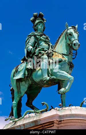 Lisbon, Statue of King Jose I on Praca do Comercio - Stock Photo