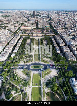 Aerial view on Champ de Mars and Ecole Militaire from the Eiffel tower - Stock Photo