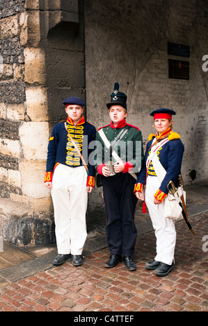 Re-enactment members dressed in Military Uniform at Rochester Dickens Festival - Stock Photo