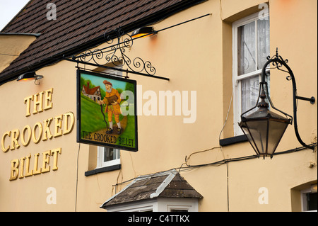 Sign for the Crooked Billet Pub in Old Leigh, Essex - Stock Photo