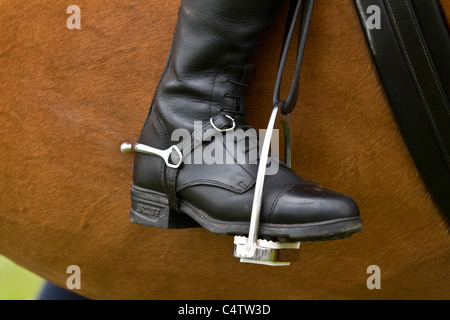 Foot detail strirrup and boot and spur of rider at the Royal Highland Show _ Ingliston Edinburgh 2011, Scotland, - Stock Photo