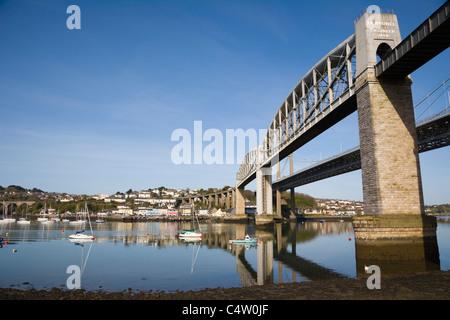Royal Albert Bridge, river Tamar against Saltash riverside, Saltash Passage, Plymouth, between Cornwall and Devon, - Stock Photo
