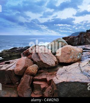 The Rocky Acadia Seacoast On A Rainy And Stormy Day At Thunder Hole, Acadia National Park, Maine, USA - Stock Photo