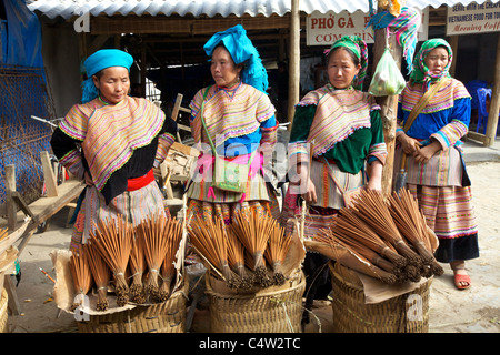 Flower H'mong Ethnic Minority People selling incense - Stock Photo