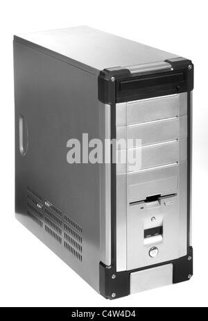 gray computer case, photo on the white background - Stock Photo