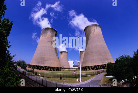 steam clouds rising from drax coal powered power station drax yorkshire uk - Stock Photo