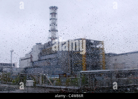 The fourth block of Chernobyl nuclear power plant in Ukraine - Stock Photo