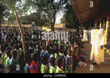 Morning assembly, Christian primary school in Ghana - Stock Photo