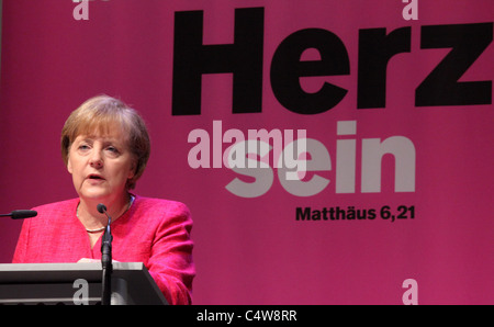 ANGELA MERKEL, Chancellor of Germany during a speech at the Evangelical Congress in Dresden, Germany 4.June 2011 - Stock Photo