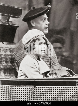 The Prince of Wales, later King Edward VIII, with Princess Elizabeth, later Queen Elizabeth II. - Stock Photo