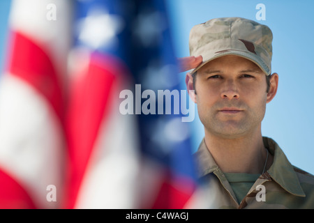 USA, New Jersey, Jersey City, saluting US army soldier - Stock Photo