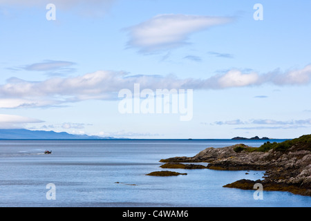 View across Loch nan Uamh towards the Sound of Arisaig in Scotland - Stock Photo