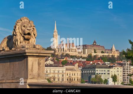 View from Szechenyi Lanchid Chain Bridge of the Fishermen's Bastion. At the left side is the Matthias Church, Budapest, - Stock Photo