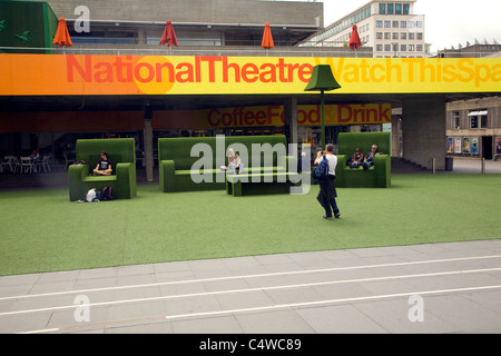Giant green furniture outside the National Theatre, South Bank, London - Stock Photo