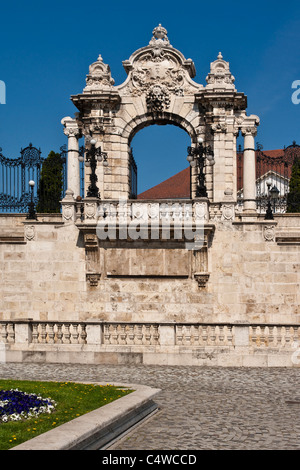 New-baroque, two winged stairway entrance to the forecourt of the Buda Castle Budapest, Hungary, Europe - Stock Photo