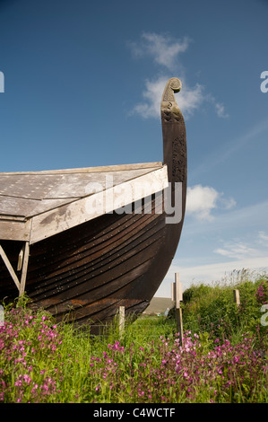 A replica Viking longship Skidbladner under construction at Haroldswick by Shetland The Viking Unst Project.  SCO - Stock Photo