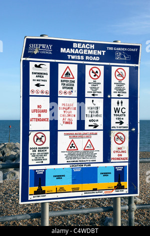 Beach management sign Twiss Road Hythe Kent - Stock Photo