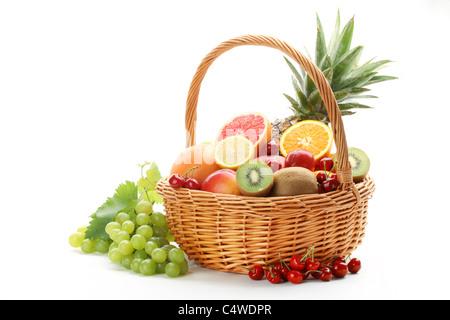 Colorful fruits isolated on white background - Stock Photo