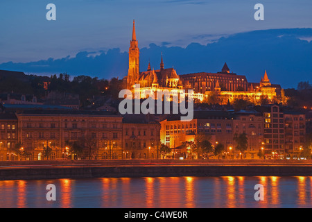 View to the Fishermen's Bastion. At the left side is the Matthias Church, Budapest, Hungary - Stock Photo