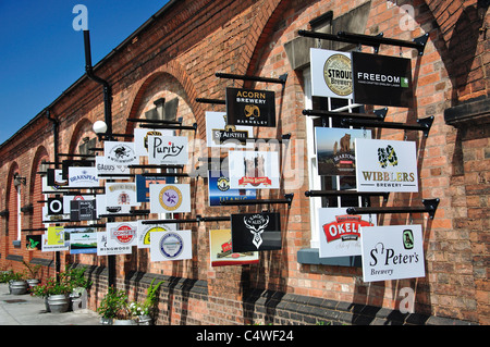 Brewery signs on wall, The National Brewery Centre, Horninglow Street, Burton upon Trent, Staffordshire, England, - Stock Photo