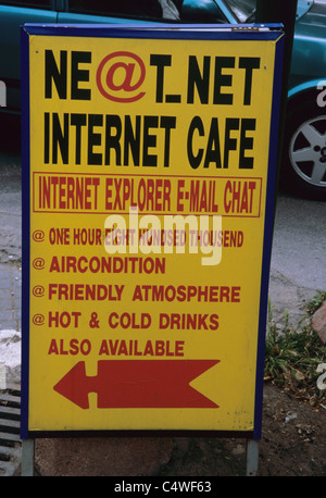 Internet cafe sign with Turkish Lira prices in Spring 2000, İstanbul, Turkey 000531_2321 - Stock Photo