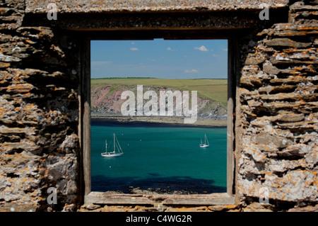 View from ruined huer's hut on Burgh Island, Devon, UK - Stock Photo