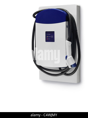 Electric car charging station isolated on white background with clipping path - Stock Photo