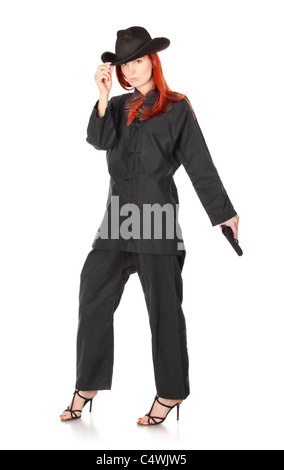 woman in black kimono with gun, isolated on white - Stock Photo