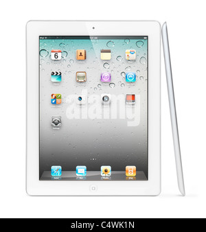 White Apple iPad 2 tablet computer with desktop icons on its display. Isolated with clipping path on white background. - Stock Photo