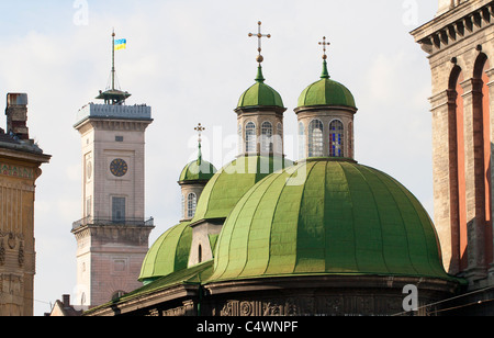 Roofs of the old city in Lviv, Ukraine - Stock Photo