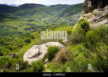 Italy - at the Volo dell'Angelo, Europe's longest zipwire ride. View from near Pietrapertosa departure. - Stock Photo