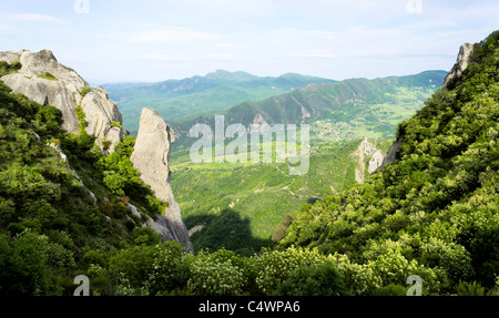 Italy - at the Volo dell'Angelo, Europe's longest zipwire ride. View from the Castelmezzano footpath. - Stock Photo