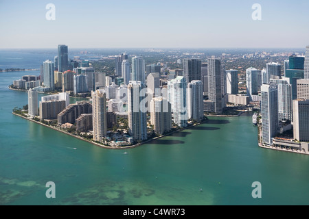 USA, Florida, Miami skyline as seen from air - Stock Photo
