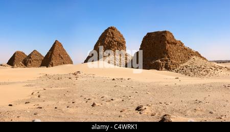 The Pyramids at Nuri Panorama, Northern Sudan, Africa - Stock Photo