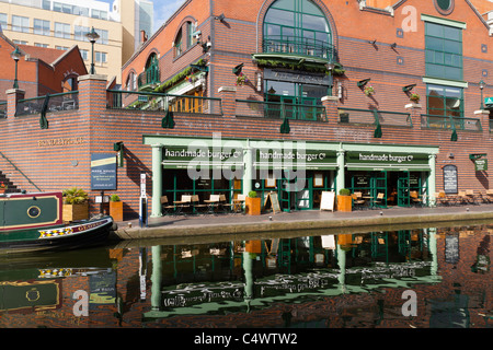 The handmade burger restaurant next to the canal in Brindley Place Birmingham UK - Stock Photo