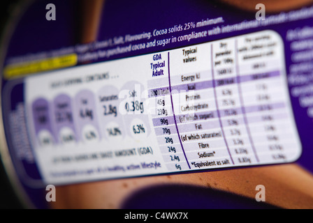 Close up on Food Label Showing Guideline Daily Amounts GDA kcal for Typical Adult - Stock Photo