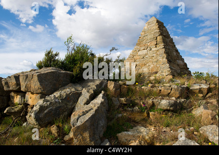 Monument commemorating Piet Retief and his party on Voortrekker Pass, Free State, South Africa - Stock Photo