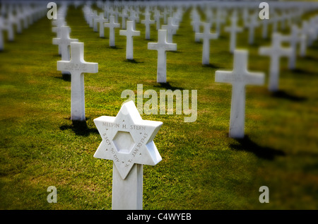 Star of David as a grave stone, Henri-Chapelle American Cemetery and Memorial American war cemetery in Henri-Chapelle, - Stock Photo