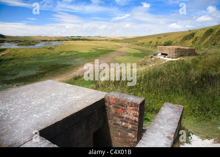 Second World War pill boxes at Cuckmere haven, East Sussex, UK - Stock Photo