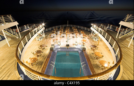 Deck of a cruise ship at night - Stock Photo