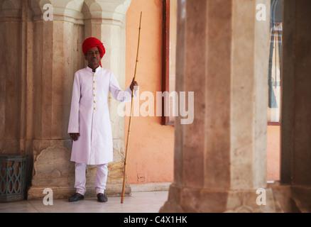 Palace guard in Diwam-i-Khas (Hall of Private Audience), City Palace, Jaipur, Rajasthan, India - Stock Photo