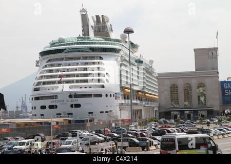 Royal Caribbean's Mariner of the Seas docked in Naples, Italy. - Stock Photo