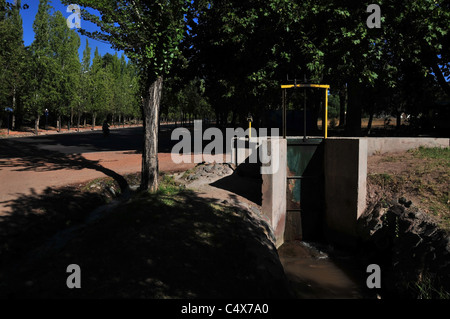 Sluice gate controlling irrigation water channels in trees, Avenida Libertador, Parque General San Martin, Mendoza, - Stock Photo