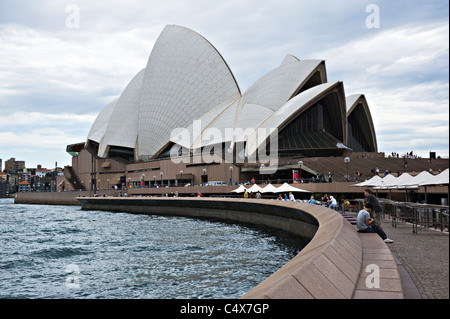 The Beautiful Sydney Opera House on Bennelong Point in Sydney Harbour New South Wales Australia - Stock Photo