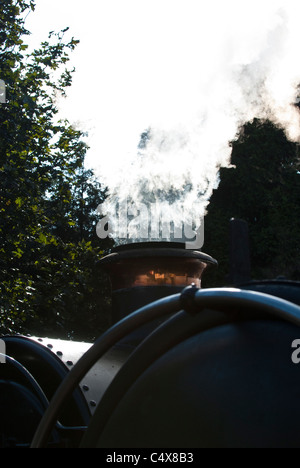 Vintage steam engine with steam bellowing from beneath.  Gloucester and Warwickshire Railway, Toddington. UK - Stock Photo