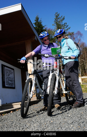 cyclists choosing a cycle route in Kielder Water & Forest Park Northumberland - Stock Photo
