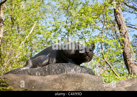 'Still Hunt' Cougar Sculpture, East Drive, 'Cat Hill', Central Park, NYC - Stock Photo