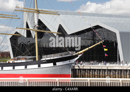 Riverside Museum of Transport and Travel and the Tall Ship Glenlee, Glasgow, Scotland, UK - Stock Photo